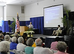 President Higdon speaks during his state-of-the-college address on May 30.