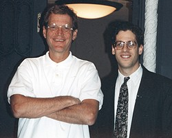 Professor Andrew Pessin and David Letterman pose at the Ed Sullivan Theater, home of the <i>Late Show</i>, in 1994.