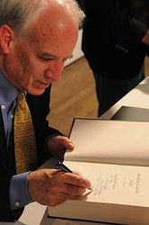 Michael Burlingame, the May Buckley Sadowski ´19 Emeritus Professor of History, signs copies of his book, 'Abraham Lincoln: A Life.'