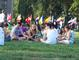 Students, faculty and staff enjoy a picnic on Tempel Green following Convocation
