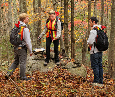 Anthropology students conduct fieldwork in the woods of the Arboretum.