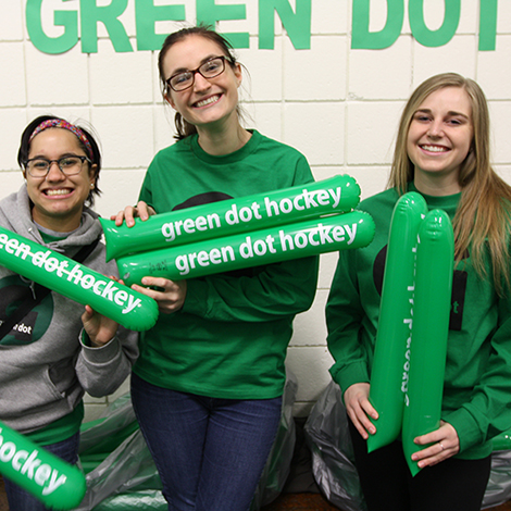 Students at the Green Dot Hockey game