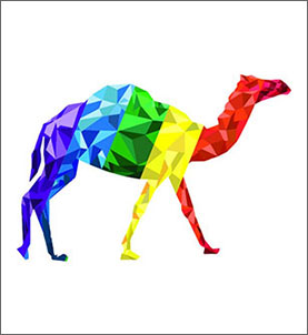 A rainbow colored camel