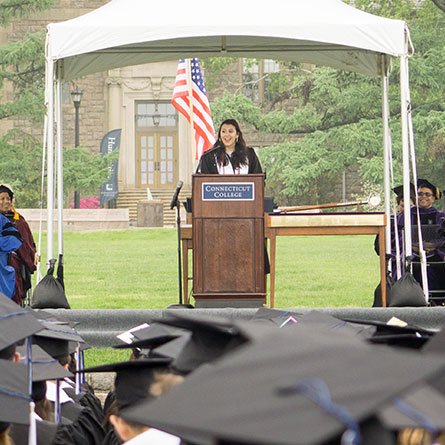 Nayla Tohme '18 addresses the Class of 2018 at Commencement