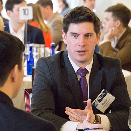 Kieran Morris '15 networks with fellow athletes at the Camel Athletics Club Career Networking Day.