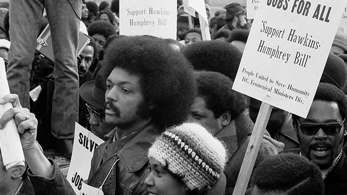 Jesse Jackson at a Hawkins Humphrey Bill rally