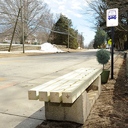 The Connecticut College bus stop