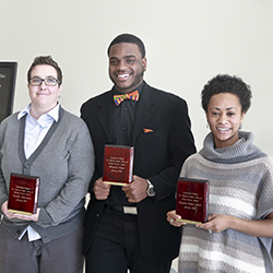 The 2015 Dr. Martin Luther King Jr. Service Award winners are (L-R): Ariella Rotramel, Maurice Tiner '17 and Bryana White