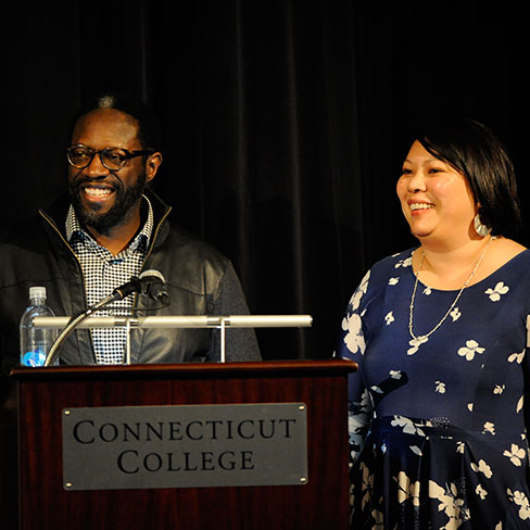 André Robert Lee '93, left, and Liza Talusan '97 at the Connecticut College screening of