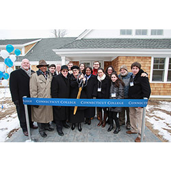 President Katherine Bergeron prepares to cut the ribbon to officially open the Zachs Hillel House. Scroll down to see a slideshow of additional pictures from the opening.