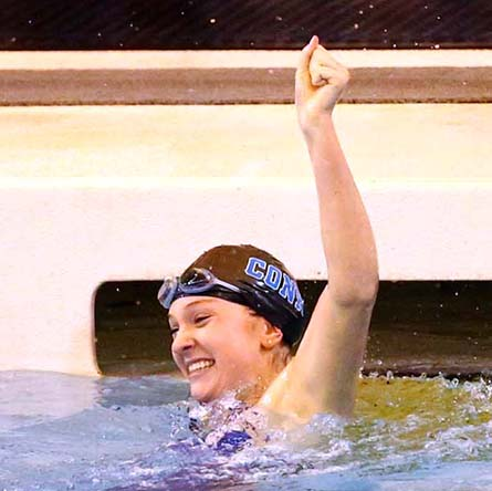 Mary Erb '20 celebrates moments after finishing first in the 200-yard breaststroke at the 2017 NCAA Division III Swimming and Diving Championships.