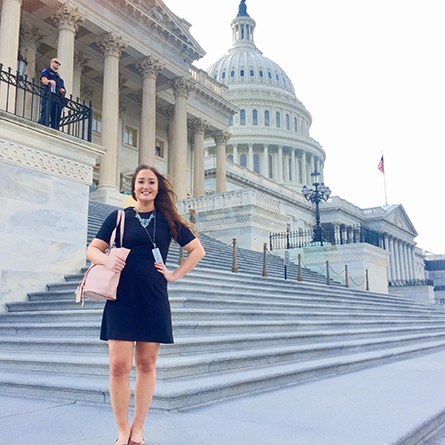 Meghan Adams '18, a government major, at her internship with The Office of U.S Congressman William Keating in Washington, D.C. this summer.