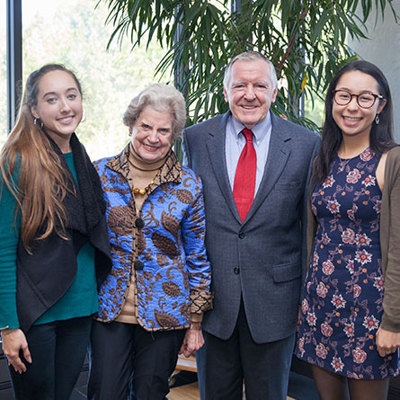 Laura Lundegar '18, Carolyn '60 and Jerry Holleran GP '07, and Hanako Brais '18