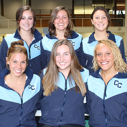 The six seniors on the women's swimming and diving team pose for a group photo. (Top row, L-R) Olivia Haskell '19, Maeve Wilber '19 and Sydney Krisanda '19. (Bottom row, L-R) Nicki Abraham '19, Catherine Rodgers '19 and Danielle Fergus '19. Haskell, Wilber and Fergus all earned All-NESCAC honors at this weekend's NESCAC Championships.