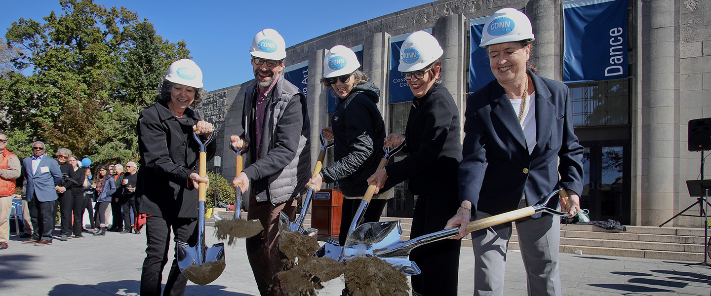 President Katherine Bergeron, Nancy Marshall Athey '72 and three Connecticut College arts professors ceremoniously break ground on the Palmer Auditorium renovation