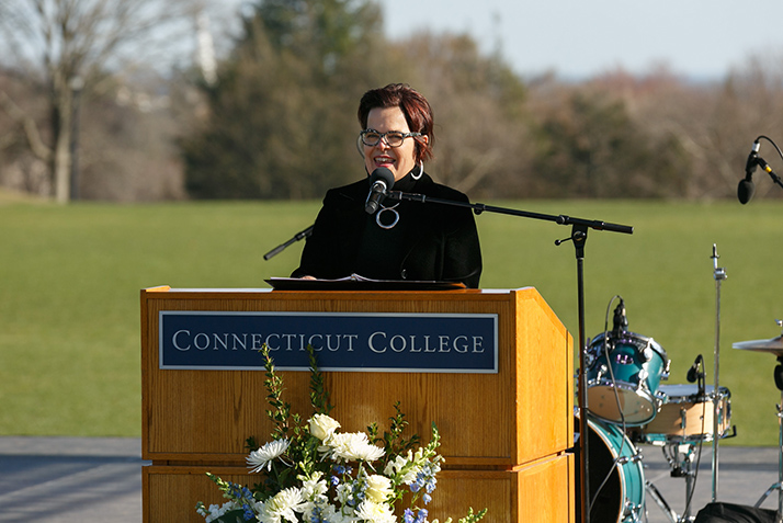 President Katherine Bergeron gives her remarks from The Dune.