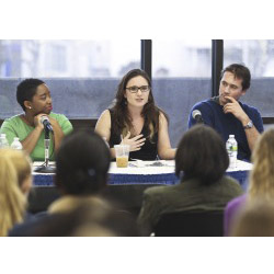 Lauren Burke '06 (center) talks about her experience with issues of global justice. She is joined on the panel by Tiana Davis Hercules '04 (left) and James Rogers '04.
