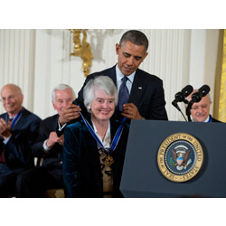 President Barack Obama bestows the Presidential Medal of Freedom upon Judge Patricia Wald '48.  (AP Photo/ Evan Vucci)