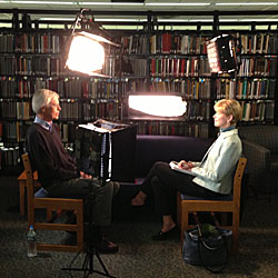 Professor Stuart Vyse sits down with CBS's Susan Spencer in Shain Library.