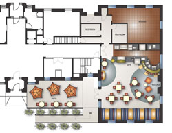 Above is one proposed floor plan for the new Harkness café.