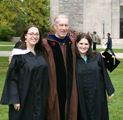 Professor Held, center, poses with Emily Morse '05 and Emily Huebscher Meyer '05. Photo courtesy of Emily Morse '05.