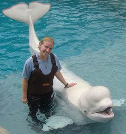 Emily Hanks ´10 with ´Inuk´ at the Mystic Aquarium & Institute for Exploration.